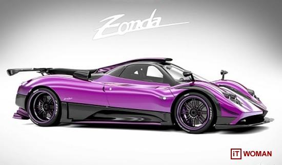 Сиреневый суперкар Pagani Zonda