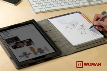 iPad слева, тетрадь справа - удобный чехол для iPad 2!